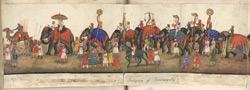 A panorama in 12 folds showing the procession of the Emperor Bahadur Shah to celebrate the feast of the 'Id. F. 59v-B